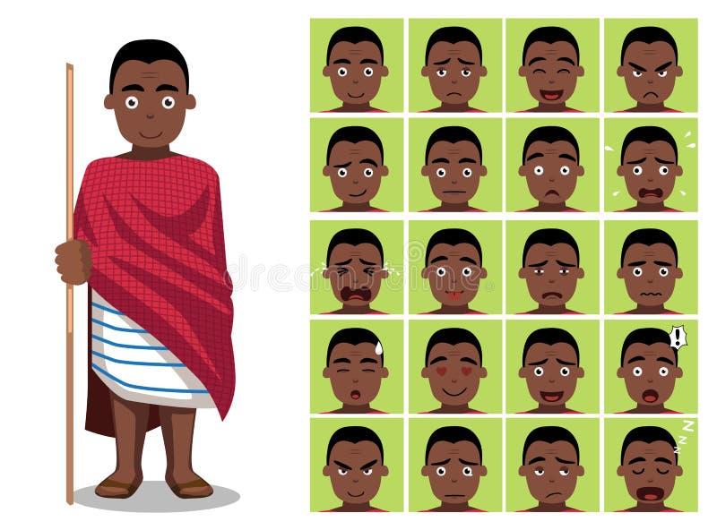 Африканское племя одевает мужскую иллюстрацию вектора сторон эмоции шаржа Chaga иллюстрация штока