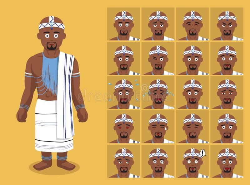 Африканское племя одевает традиционную мужскую иллюстрацию вектора сторон смайлика шаржа Xhaosa иллюстрация штока