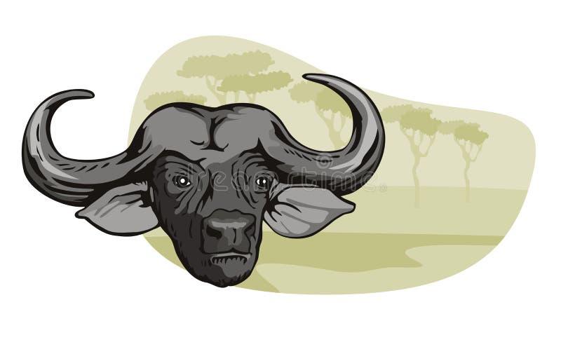 африканское сафари буйвола иллюстрация вектора