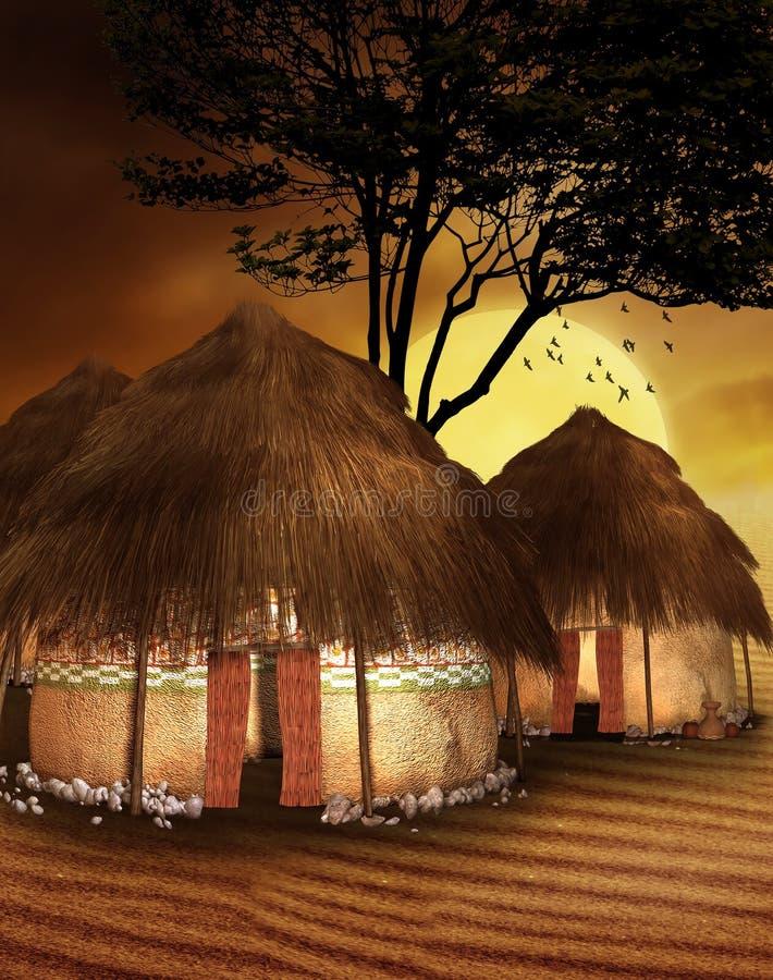 африканское село иллюстрация штока