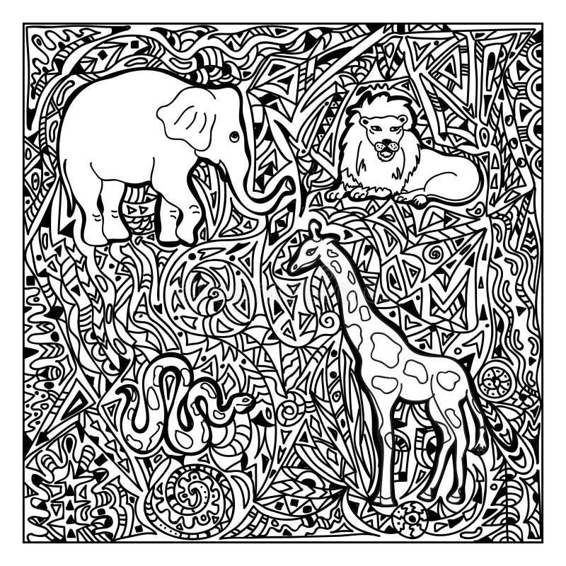 Африканское zentangle животных иллюстрация штока