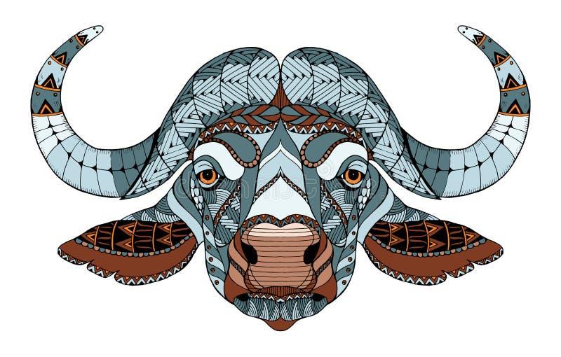 Африканское zentangle стилизованное, вектор головы буйвола, иллюстрация, f иллюстрация штока