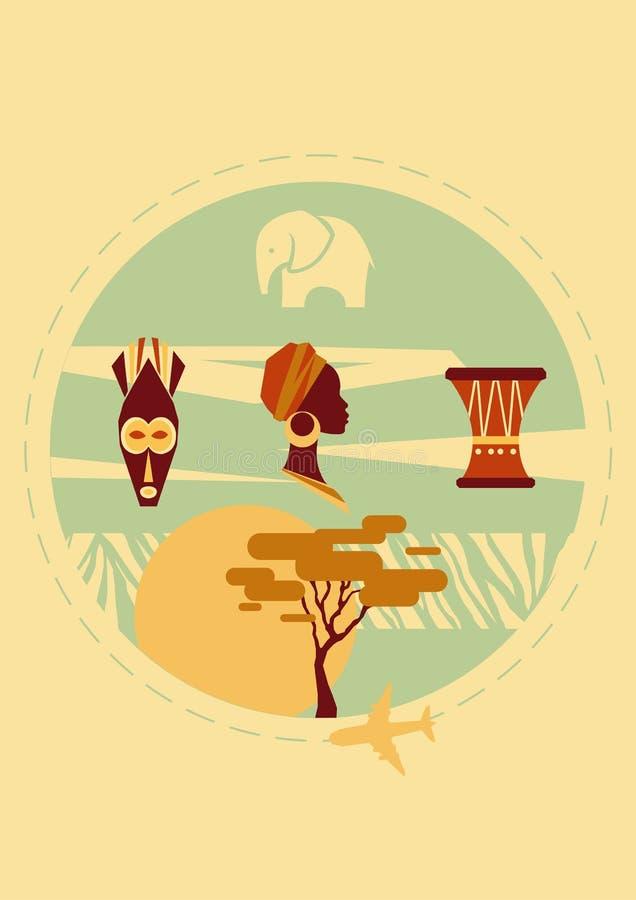 Африка, котор нужно переместить Крышка для брошюры или открытки, плаката или стикера также вектор иллюстрации притяжки corel иллюстрация штока