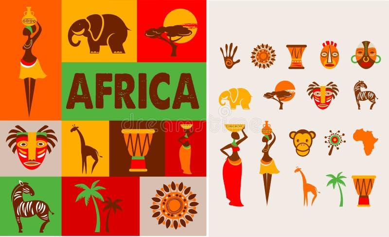 Африка - плакат и предпосылка иллюстрация штока