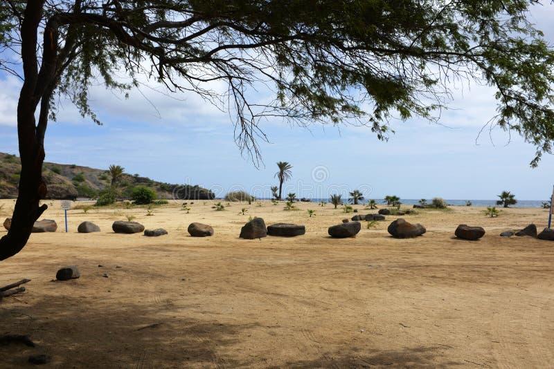 Африка - пляж песка s Франсиско, остров Сантьяго, Кабо-Верде стоковые изображения rf