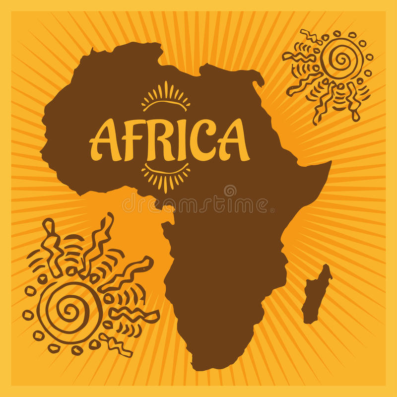 Африка - этнический плакат также вектор иллюстрации притяжки corel иллюстрация штока