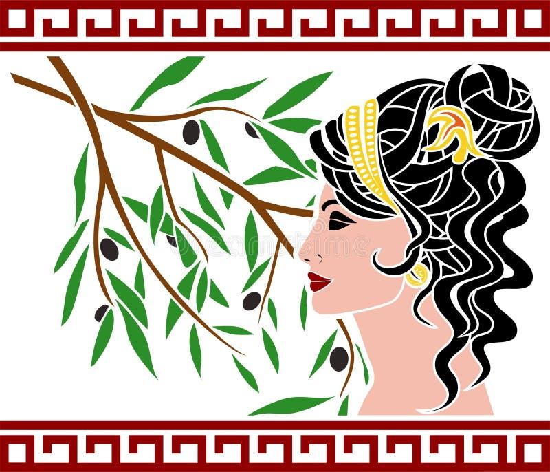 Афродита и оливковая ветка иллюстрация штока