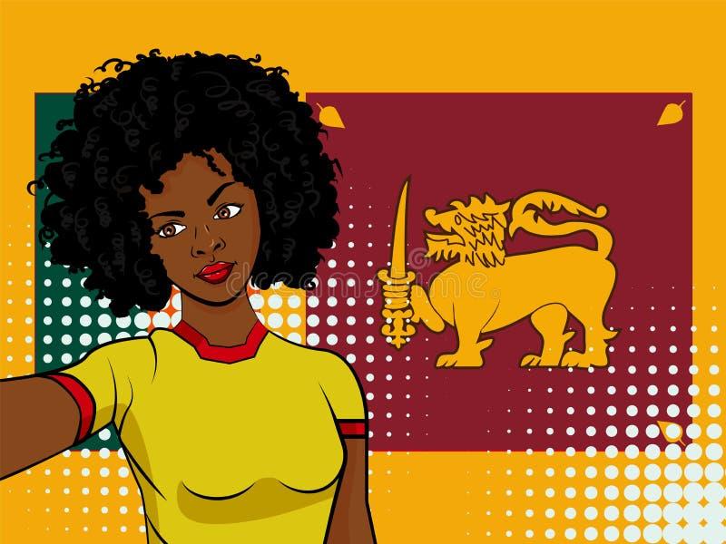 Афро-американская девушка делает selfie перед национальным флагом Шри-Ланкой в иллюстрации стиля искусства шипучки Элемент illust иллюстрация вектора