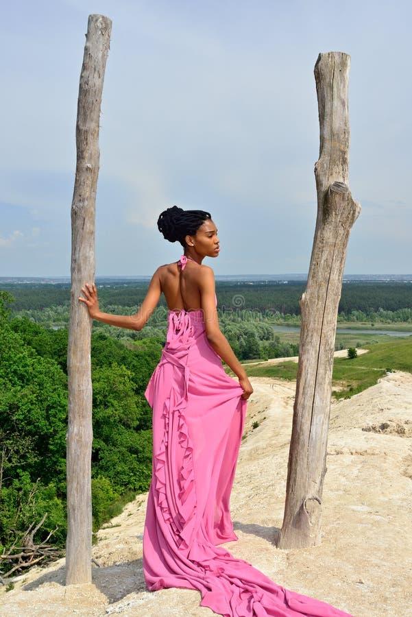 Афро-американская девушка при dreadlocks, стоя назад на высоком холме и смотря горизонт стоковые изображения