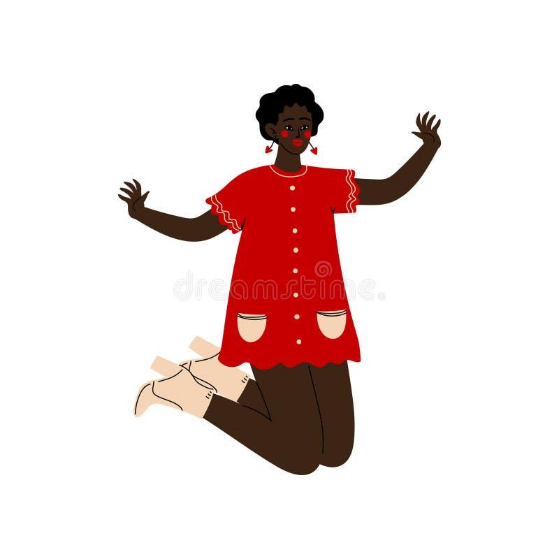 Афро-американская девушка счастливо скача, молодая женщина празднуя значительный факт, танцы, приятельство, концепцию спорта бесплатная иллюстрация
