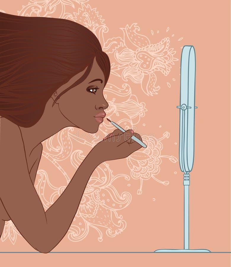 Афро-американская девушка прикладывая лоск губы с щеткой перед иллюстрация вектора