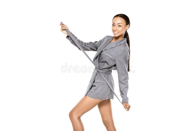 Афро-американская женщина в купальном халате стоковые фото