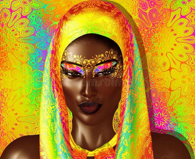 Афро-американская красота моды с головными косметиками вуали и яркого блеска иллюстрация вектора