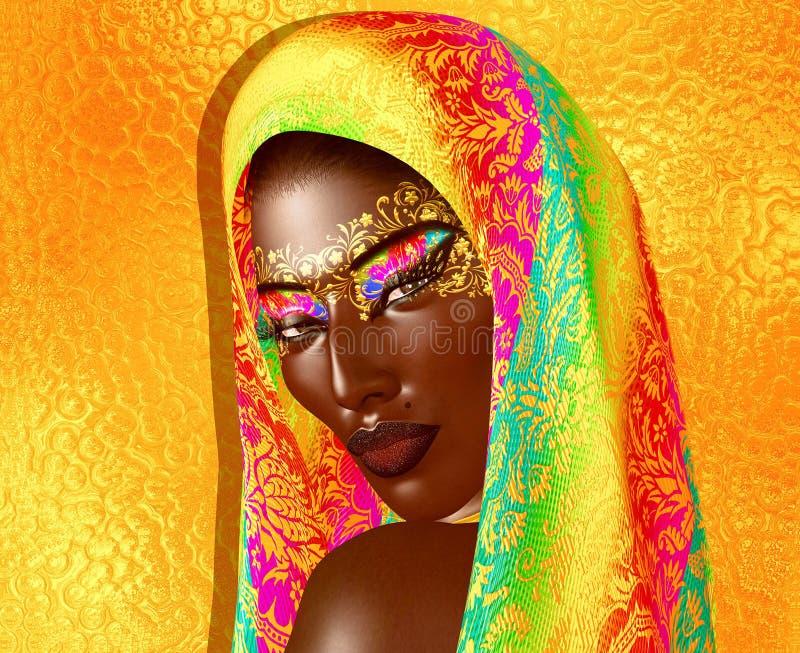 Афро-американская красота моды с головными косметиками вуали и яркого блеска бесплатная иллюстрация