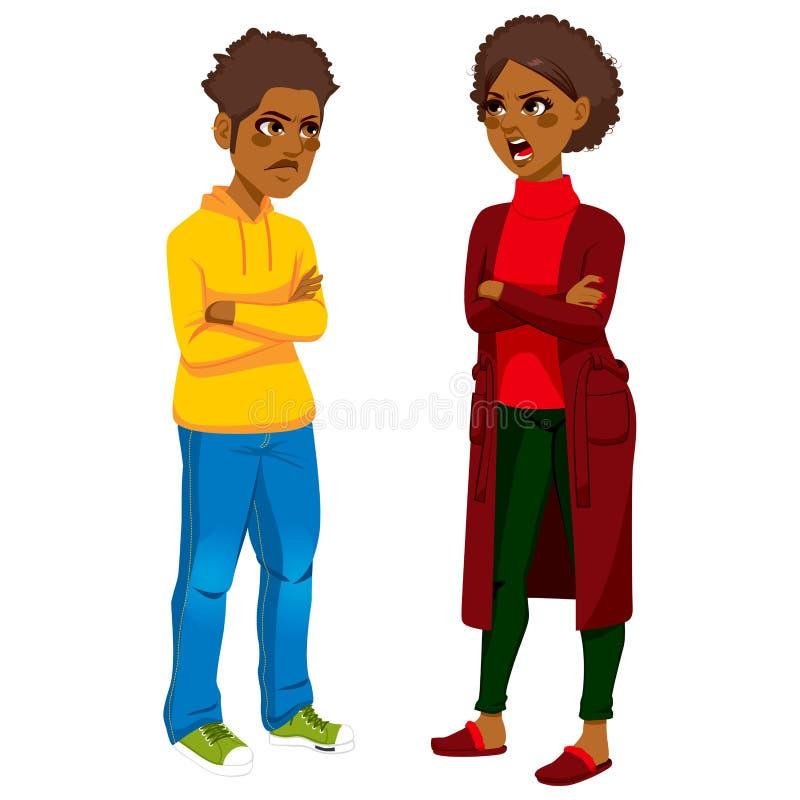 Афро-американская мама сердитая с сыном иллюстрация вектора