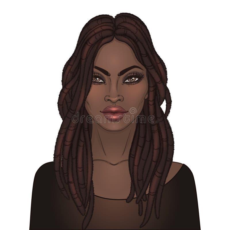 Афро-американская милая девушка Иллюстрация растра чернокожей женщины иллюстрация штока
