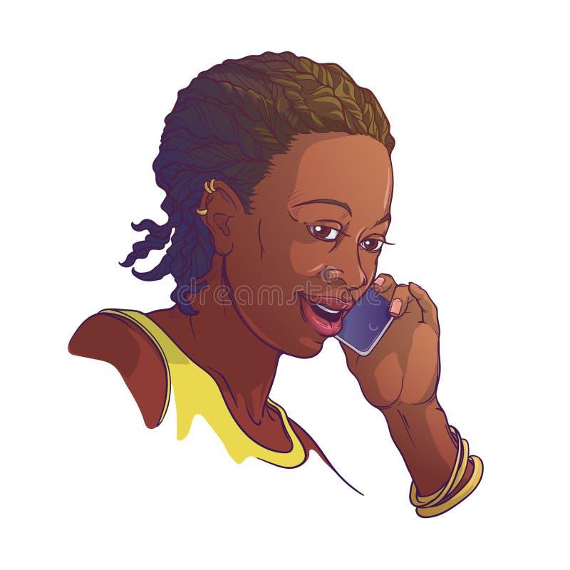 Афро-американская молодая женщина с cornrow заплетает говорить на телефоне и усмехаться Покрашенный линейный эскиз изолированный  бесплатная иллюстрация