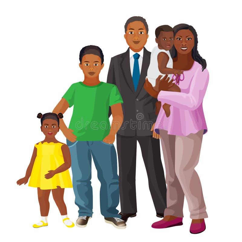 Афро-американская счастливая семья родителей и 3 детей иллюстрация штока