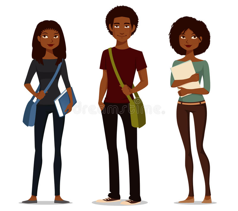 Афро-американские студенты в вскользь одеждах иллюстрация штока