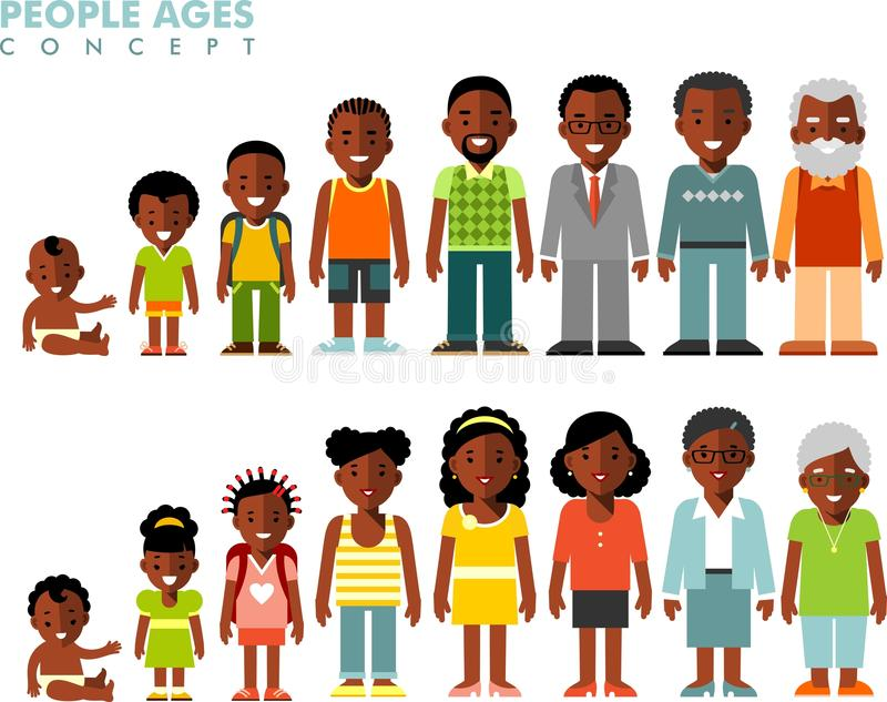 Афро-американские этнические поколения людей на различных временах иллюстрация штока