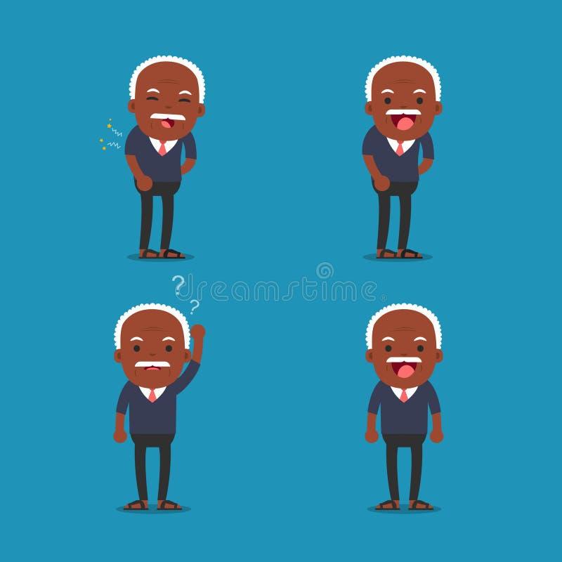 Афро-американские люди, старик Grandpa в 4 различных представлениях иллюстрация штока