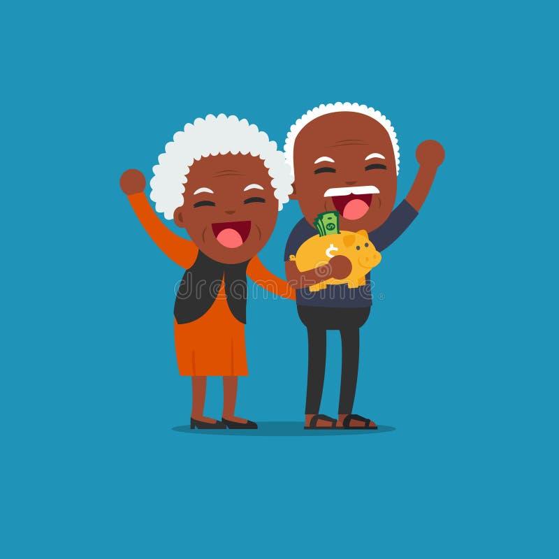 Афро-американские люди - старшие люди с золотой копилкой, бесплатная иллюстрация