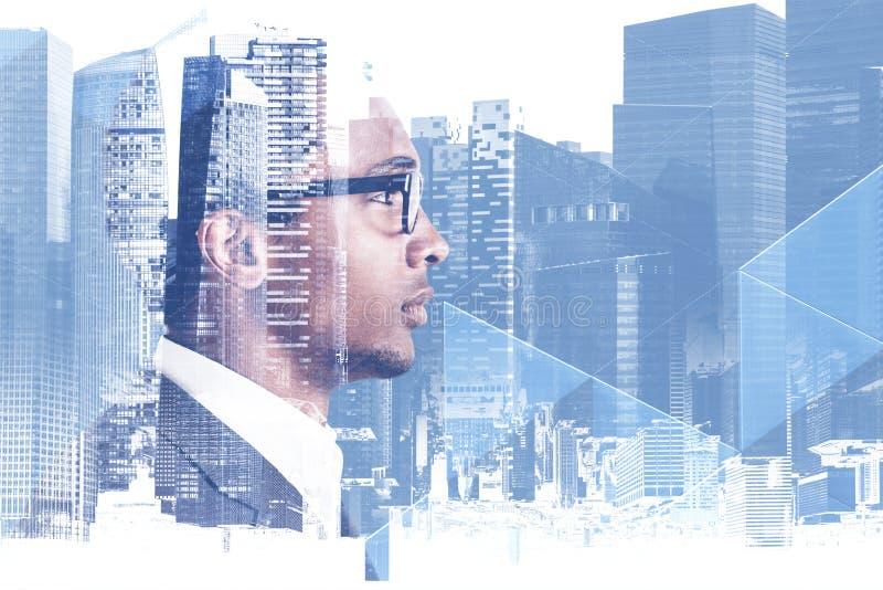 Афро-американский бизнесмен в городе иллюстрация вектора