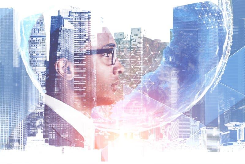 Афро-американский бизнесмен, глобальный мир бесплатная иллюстрация