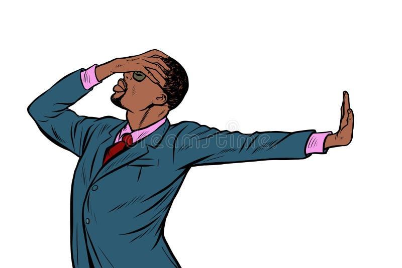 Афро-американский бизнесмен жест запирательства стыда нет иллюстрация вектора