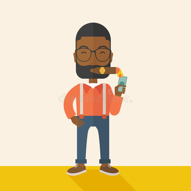 Афро-американский бизнесмен освещая сигару бесплатная иллюстрация