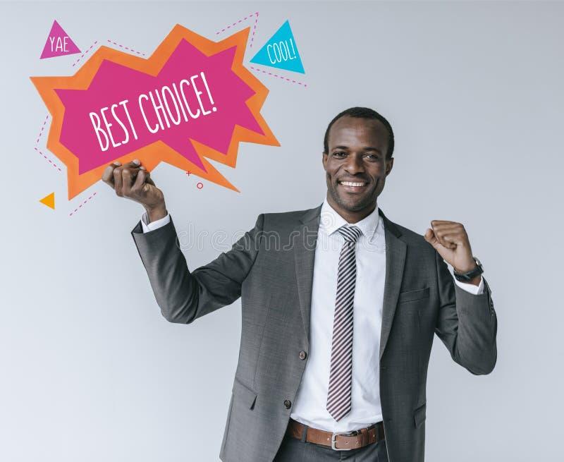 Афро-американский бизнесмен с самой лучшей отборной карточкой стоковые фото