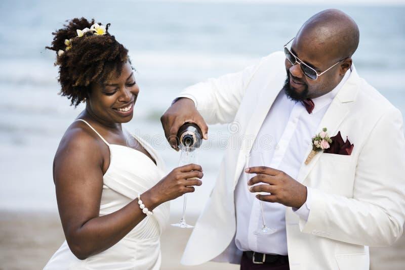 Афро-американский день свадьбы ` s пар стоковые фото