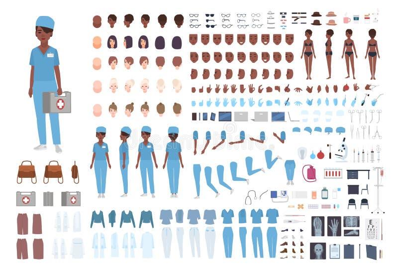 Афро-американский женский конструктор медсотрудника или медсестры Комплект тела ` s женщины детализирует, показывать, scrubs изол иллюстрация вектора