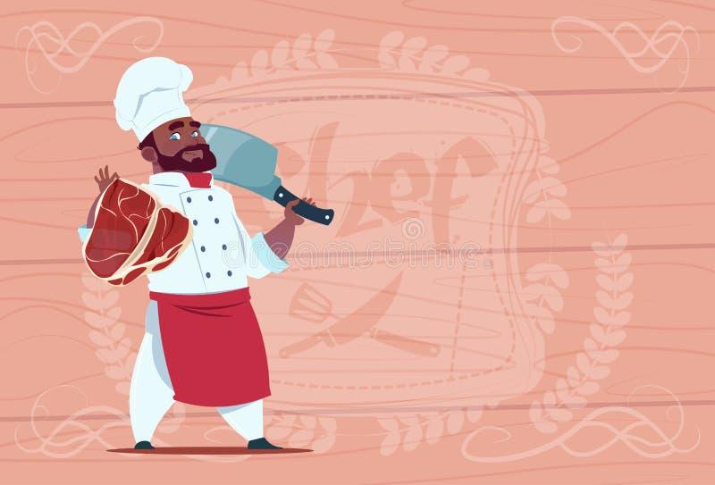 Афро-американский кашевар шеф-повара держа нож дровосека и вождь шаржа мяса усмехаясь в белой форме ресторана над деревянным иллюстрация вектора