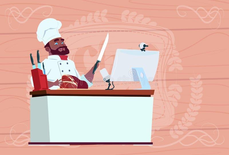 Афро-американский кашевар шеф-повара делая видео- блог Cookong на столе компьютера течь вождь ресторана шаржа в белизне бесплатная иллюстрация