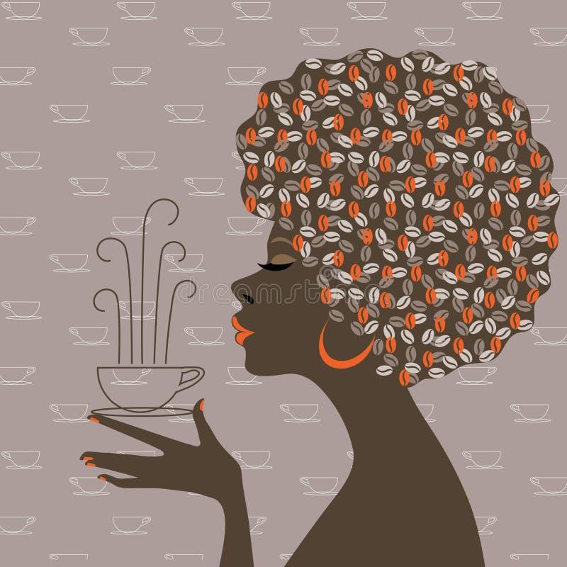 афро американский кофе мечтает женщины бесплатная иллюстрация