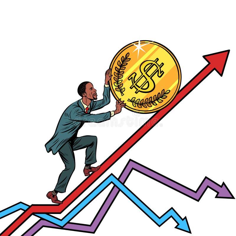 Афро-американский крен человека доллар США чеканит вверх иллюстрация штока