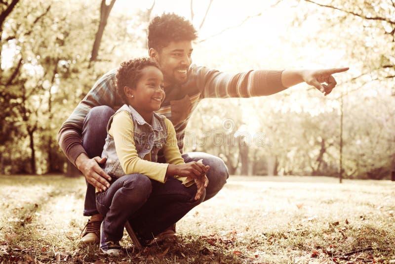 Афро-американский отец и его дочь в лесе имея conver стоковые фото