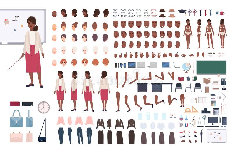 Афро-американский профессор DIY школьного учителя или учить женщины или набор конструктора Пачка тела женского характера бесплатная иллюстрация