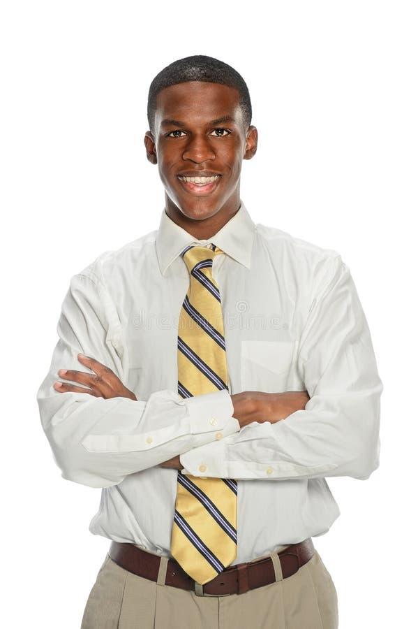 Афро-американский усмехаться бизнесмена стоковое изображение rf