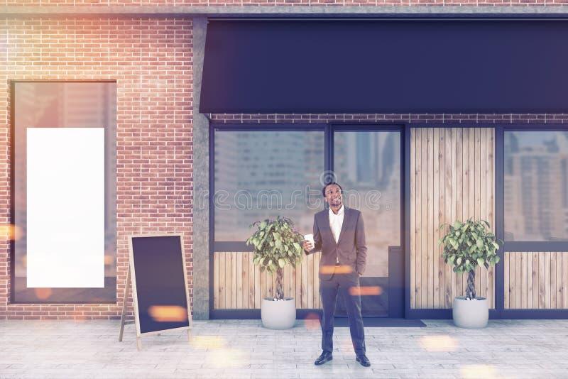 Афро-американский человек около ресторана, глумится вверх иллюстрация штока