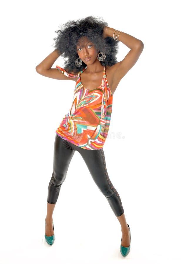 афро девушка ретро стоковое изображение