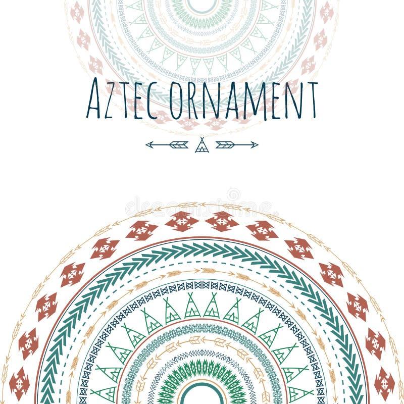 Ацтекская поздравительная открытка круга орнамента Племенной дизайн для ваших приглашений иллюстрация штока