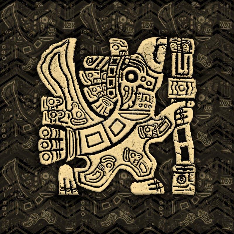 Ацтекский барельеф Grunge ратника орла иллюстрация штока