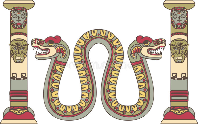Ацтекский бог как змейка иллюстрация вектора