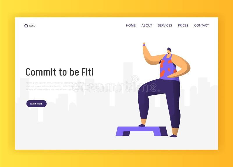 Аэробный дизайн характера фитнеса для приземляясь страницы Тренировка человека Crossfit в образе жизни тренировки разминки спортз бесплатная иллюстрация