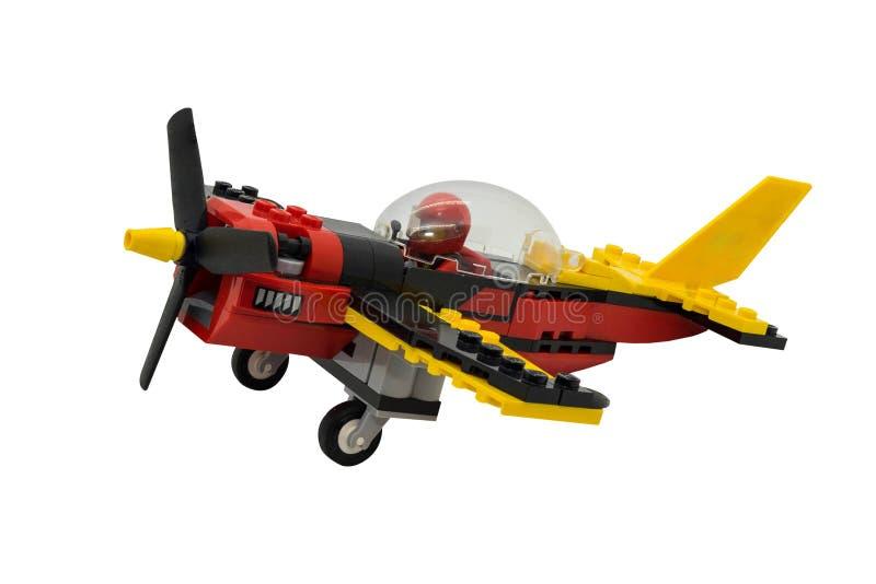 Аэроплан лезвия Lego одиночный на белой предпосылке стоковые фотографии rf