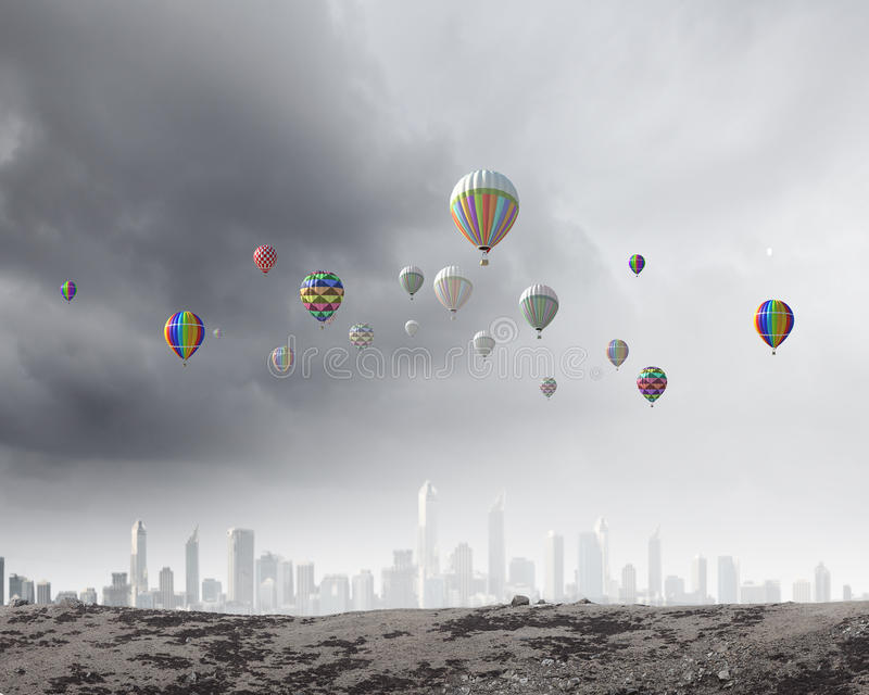 Download Аэростаты в небе стоковое изображение. изображение насчитывающей напольно - 41651337
