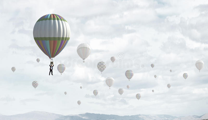 Аэростаты в небе стоковая фотография rf