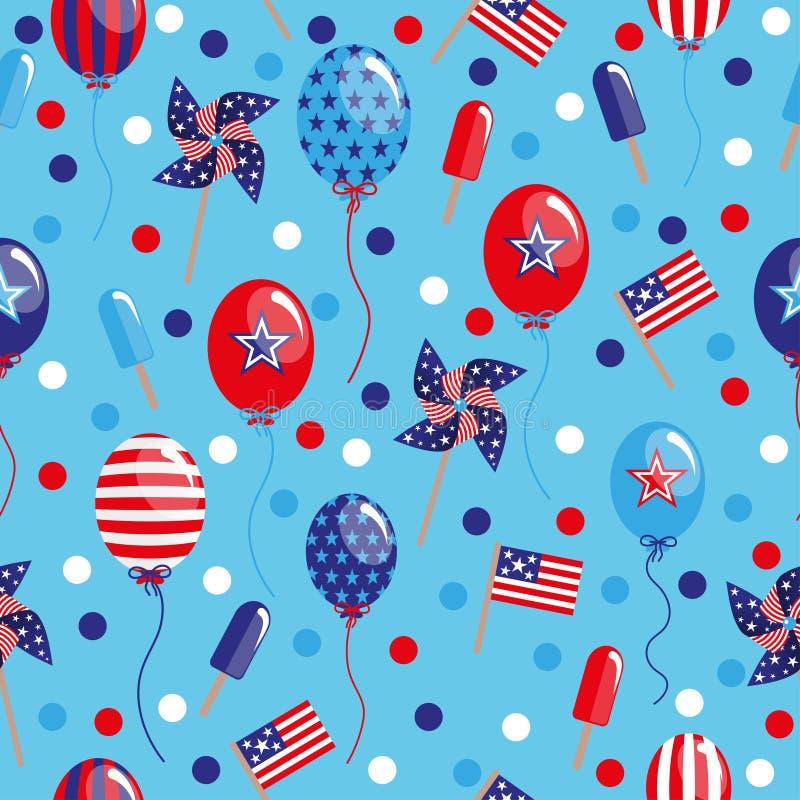4-ая из картины в июле безшовной с воздушными шарами, флагами и льдом иллюстрация штока